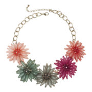 Mixit™ Light Gold-Tone Multicolor 3D Flower Statement N Spike Flower Necklace  1
