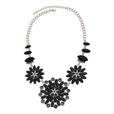jcpenney.com | Mixit™ Black Stone & Crystal Floral Statement Necklace