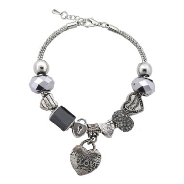 jcpenney.com | Dazzling Designs™ Silver-Plated Black Artisan Glass Bead Heart Charm Bracelet