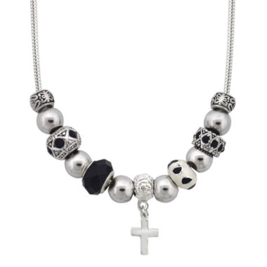 jcpenney.com | Dazzling Designs™ Silver-Plated Cross Artisan Glass Bead Necklace