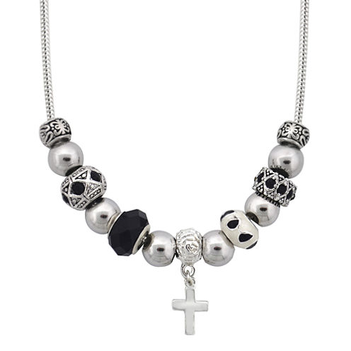 Dazzling Designs™ Silver-Plated Cross Artisan Glass Bead Necklace