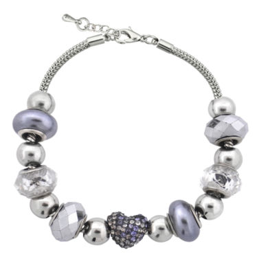 jcpenney.com | Dazzling Designs™ Silver-Plated Pavé Heart Artisan Glass Bead Necklace