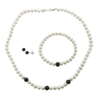 jcpenney.com | Cultured Freshwater Pearl & Black Crystal 3-pc. Jewelry Set