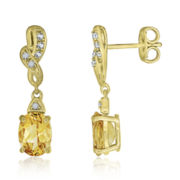 Genuine Citrine & Lab-Created White Sapphire Earrings