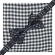 Stafford® Pre-Tied Plaid Bow Tie & Gingham Pocket Square Set
