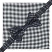 Stafford® Pre-Tied Plaid Bow Tie & Gingham Pocket Square Set