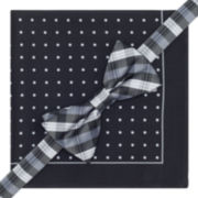 Stafford® Pre-Tied Plaid Bow Tie & Dotted Pocket Square Set