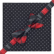 Stafford® Plaid Dot Pre-Tied Bow Tie & Pocket Square Set