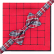 Stafford® Plaid Grid Pre-Tied Bow Tie & Pocket Square Set