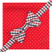 Stafford® Gingham Dot Pre-Tied Bow Tie & Pocket Square Set