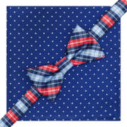 Stafford® Tartan Dot Pre-Tied Bow Tie & Pocket Square Set