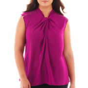 Worthington® Short-Sleeve Zipper-Trim Blouse - Plus