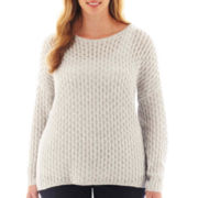 jcp™ Long-Sleeve Lightweight Cable Boatneck Sweater - Plus