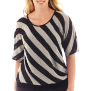 Alyx® Elbow-Sleeve Striped Banded Sweater - Plus