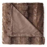 Faux-Fur Tonal Print Throw