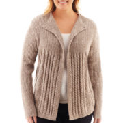 Liz Claiborne® Long-Sleeve Marled Flyaway Cardigan Sweater - Plus