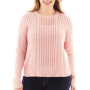 Arizona Bow-Back Cable Knit Sweater - Plus