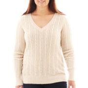Arizona V-Neck Cable Knit Sweater - Plus