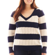 Arizona V-Neck Striped Cable Knit Sweater - Plus