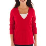 Liz Claiborne® Long-Sleeve Low V-Neck Sweatshirt