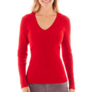 St. John's Bay® Long-Sleeve V-Neck Ribbed Sweater (copy)