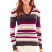 St. John's Bay® Long-Sleeve V-Neck Ribbed Sweater