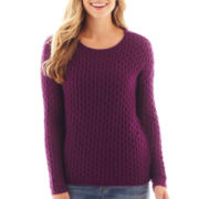 jcp™ Long-Sleeve Boatneck Pointelle Sweater