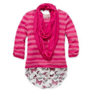 Self Esteem® Chiffon-Back Top and Scarf Set - Girls 7-16