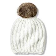 Toby Chunky Knit Beanie with Faux Fur Pom - Girls 6-16