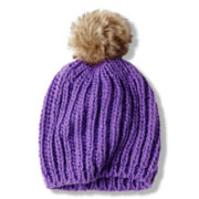 Toby Chunky Knit Beanie with Faux Fur Pom - Girls 6-16