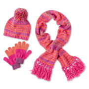 Toby 3-pc. Striped Hat, Scarf & Gloves Set - Girls 6-16