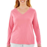 Liz Claiborne Long-Sleeve V-Neck Sleep Tee - Plus