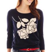 jcp™ 3/4-Sleeve Fine-Gauge Intarsia Sweater - Tall