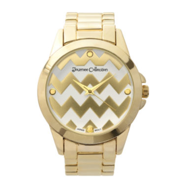 jcpenney.com | Journee Collection Womens Zigzag Print Dial Stainless Steel Bracelet Watch