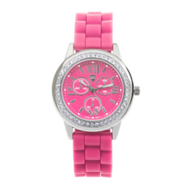 jcpenney.com | Journee Collection Womens Crystal-Accent Silicone Strap Watch