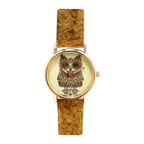 Decree® Womens Yellow Owl Dial Cork-Look Brown Strap Watch