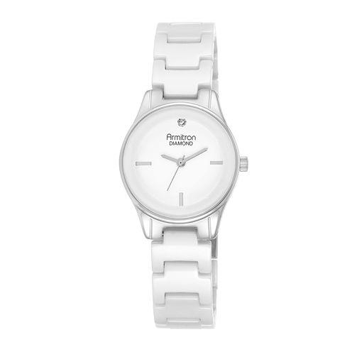 Armitron® Now® Womens Diamond-Accent Silver-Tone Ceramic Bracelet Watch 75/5348WTSV
