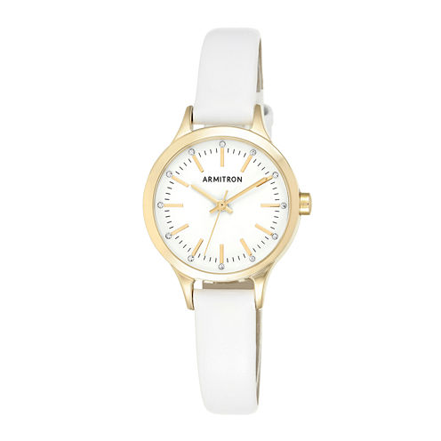 Armitron® Now® Womens White Leather Strap Watch 75/5372WTGPWT