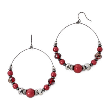 jcpenney.com | Vieste® Red Simulated Pearl and Crystal Drop Hoop Earrings