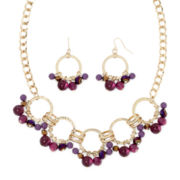 Mixit™ Purple Bead Gold-Tone Shaky Earring and Necklace Set
