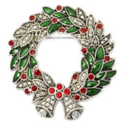 Vintage-Style Christmas Holly and Berry Wreath Pin