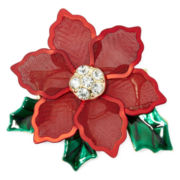 Red and Green Mesh Poinsettia Pin