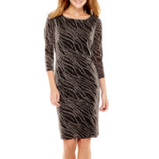 Black Label by Evan-Picone 3/4-Sleeve Glitter Shift Dress