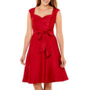 Black Label by Evan-Picone Sleeveless Shantung Fit-and-Flare Dress