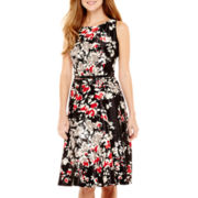 Black Label by Evan-Picone Sleeveless Floral Print Fit-and-Flare Dress