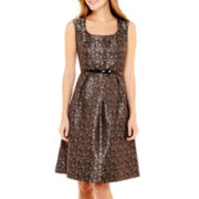 Black Label by Evan-Picone Sleeveless Jacquard Fit-and-Flare Dress