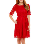 Danny & Nicole® Elbow-Sleeve Belted Lace Fit-and-Flare Dress