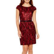 Alyx® Cap-Sleeve Bonded Lace Sheath Dress