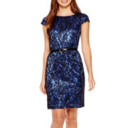 Alyx® Cap-Sleeve Bonded Lace Sheath Dress