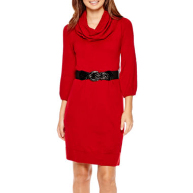 jcpenney.com | Alyx® 3/4-Sleeve Belted Cowlneck Sweater Dress